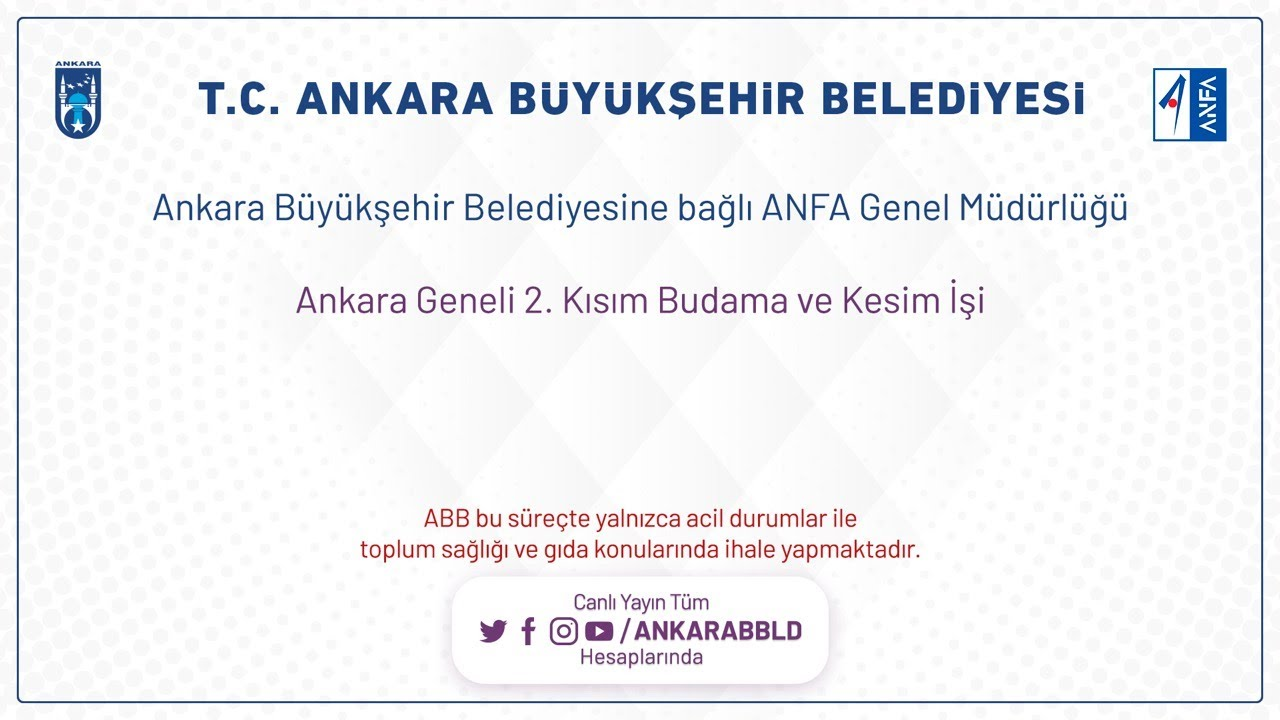 ANFA Genel Müdürlüğü Ankara Geneli 2.Kısım Budama ve Kesim İşi