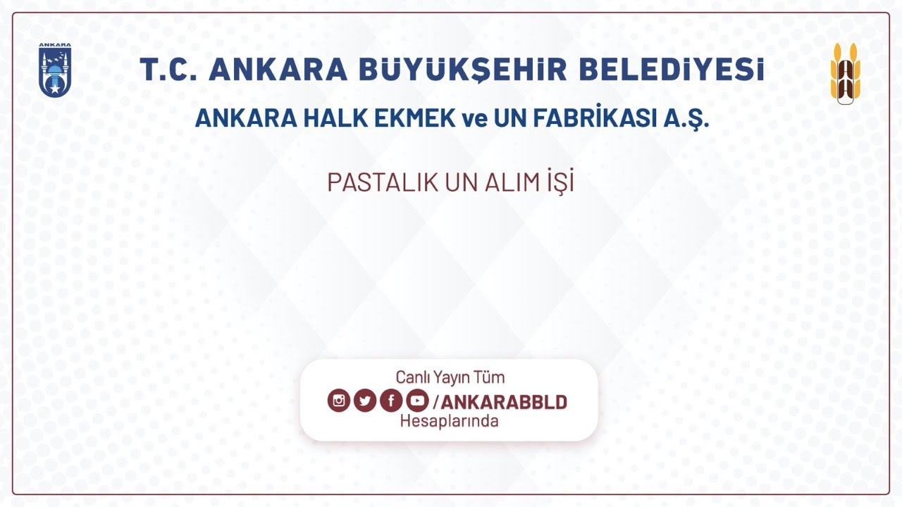 Ankara Halk Ekmek ve Un Fabrikası A.Ş.  Pastalık Un Alım İşi