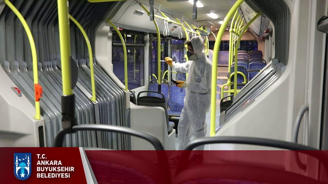 EGO otobüslerinde dezenfekte ve ilaçlama çalışmasını titizlikle yürütüyor.