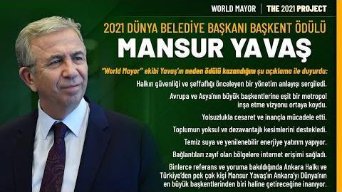 Başkanımız Sn. Mansur Yavaş World Mayor 2021, Dünya Belediye Başkanı Başkent Ödülü'nün Sahibi Oldu